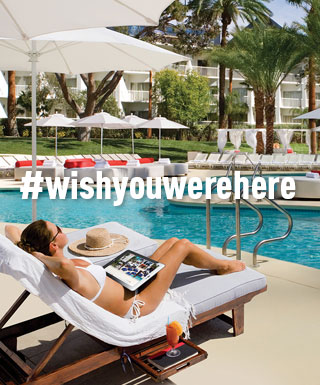 "woman on lounge chair next to pool with text ""#WishYouWereHere"""